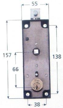 Serratura Iseo per porte basculanti con quadro 8 - Lunghezza diametro cilindro 25x30