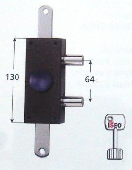 Deviatore Iseo verticale triplice antistrappo a pompa 1 mandata apertura interna con pomolo - Finitura in bronzo