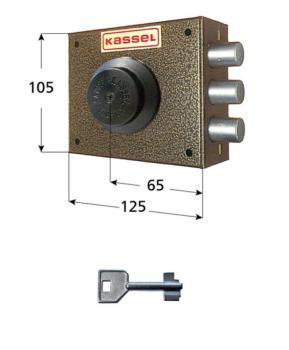 Serratura Kassel a pompa applicare laterale con apertura interna con pomolo - Mano sx diametro cilindro 28 mm