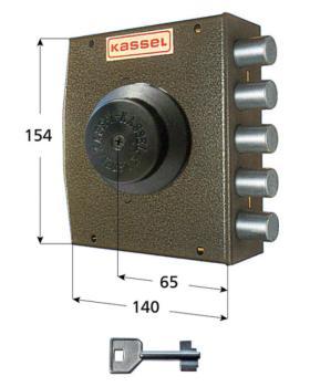 Serratura kassel a pompa applicare laterale apertura interna con pomolo - Mano destra corsa cat 42 mm