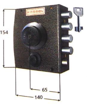 Serratura Kassel a pompa applicare laterale con scrocco apertura interna con pomolo - Mano dx diametro cil 28 mm
