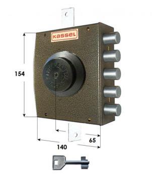 Serratura Kassel a pompa applicare triplice apertura intera con pomolo - Mano destra diametro cil 28 mm