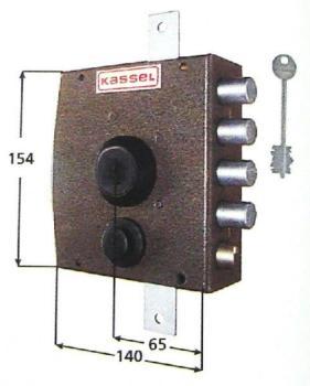 Serratura Kassel a pompa applicare triplice con scrocco apertura interna con pomolo - Mano sinistra