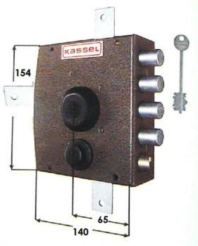 Serratura Kassel a pompa applicare quintuplice con scrocco apertura interna con pomolo - Mano destra