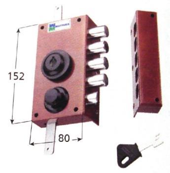 Serratura Mottura a pompa applicare triplice cilindro antistrappo apertura interna con pomolo - Mano destra