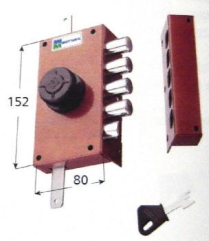 Serratura Mottura a pompa applicare triplice con scrocco cilindro antistrappo apertura interna con pomolo - Mano destra