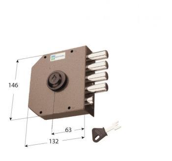 Serratura Mottura a pompa applicare laterale cilindro antistrappo apertura interna con chiave - Mano destra
