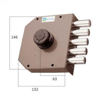 Serratura Mottura a pompa applicare laterale cilindro antistrappo apertura interna con pomolo - Mano destra