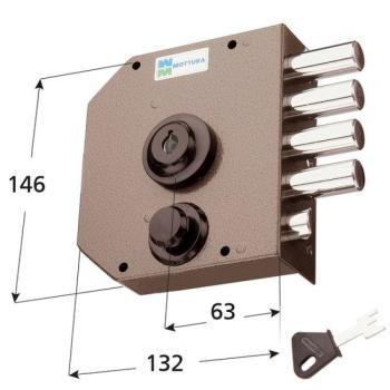 Serratura Mottura a pompa applicare laterale con scrocco cilindro antistrappo apertura interna con chiave - Mano sinistra
