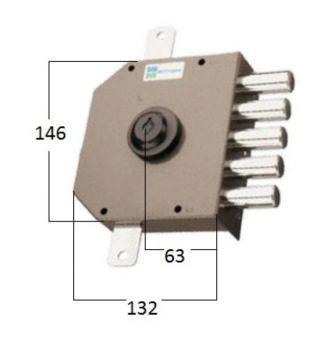 Serratura Mottura a pompa applicare triplice cilindro antistrappo apertura interna con chiave - Mano sinistra