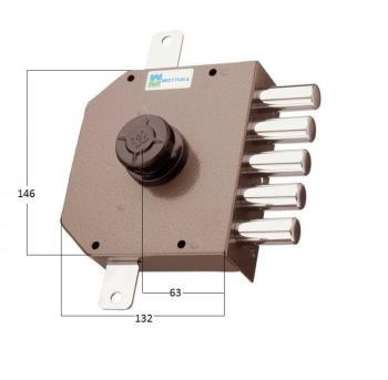 Serratura Mottura a pompa applicare triplice cilindro antistrappo apertura interna con pomolo - Mano sinistra