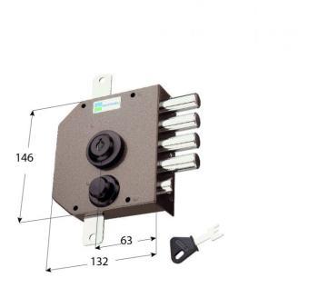 Serratura Mottura a pompa applicare triplice con scrocco cilindro antistrappo apertura interna con chiave - Mano destra