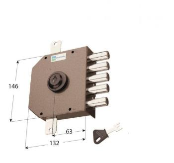Serratura Mottura a pompa applicare quintuplice cilindro antistrappo apertura interna con chiave - Mano sinistra