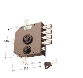 Serratura Mottura a pompa applicare quintuplice con scrocco cilindro antistrappo apertura interna con chiave - Mano sinistra