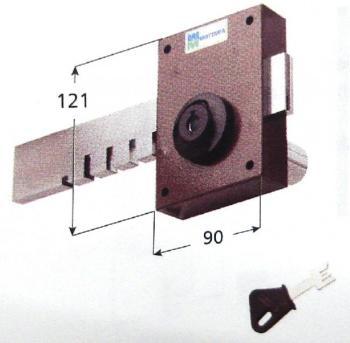 Ferroglietto laterale Mottura a pompa ambidestro cilindro antistrappo apertura interna con chiave - Corsa Cat. 120