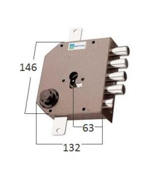 Serrature Mottura a cilindro applicare laterale con scrocco fissaggio del cilindro senza vite in testa - Mano destra