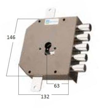 Serratura Mottura a cilindro applicare triplice fissaggio del cilindro senza vite in testa - Mano destra