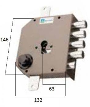 Serratura Mottura a cilindro applicare triplice con scrocco fissaggio del cilindro senza vite in testa - Mano sinistra