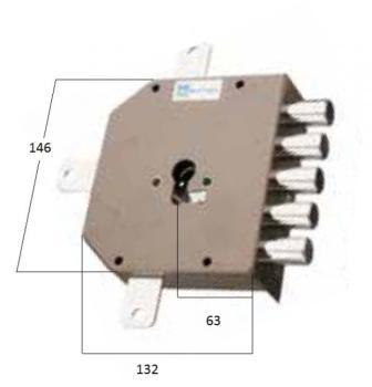 Serratura Mottura a cilindro applicare quintuplice fissaggio del cilindro senza vite in testa - Mano destra
