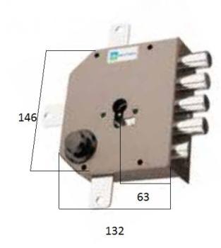 Serratura Mottura a cilindro applicare quintuplice con scrocco fissaggio del cilindro senza vite in testa - Mano sinistra