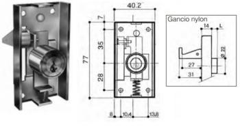 Serratura da applicare per anta scorrevole gancio nylon L 8 mm