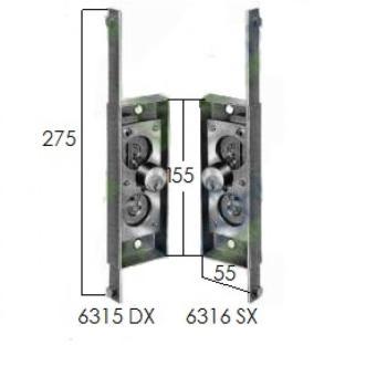 Serratura Prefer verticale per serranda scorrevole con cilindro tondo fisso - Mano destra