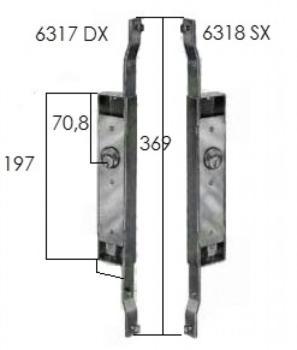 Serratura Prefer per serrande scorrevole con cilindro tondo fisso con diametro di 25 mm - Mano destra