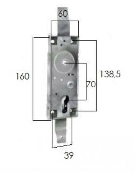 Serratura Prefer per basculanti con quadro 8 a profilo europeo e cilindro sagomato