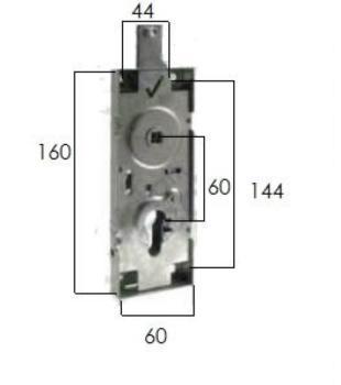 Serratura Prefer per porte basculanti con quadro 8 e cilindro sagomato - Interasse: 60 mm