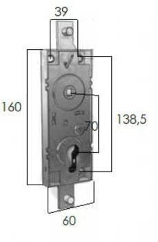 Serratura Prefer per porte basculanti senza cilindro con quadro maniglia Ø 8 mm