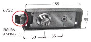 Serratura Prefer per porte di transito con scrocco quadro e cilindro fisso di diametro 25x7 mm - Mod. A spingere