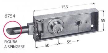 Serratura Prefer per porte di transito con scrocco tondo cilindro tondo fisso con diametro 25x7 mm - Mod. A spingere