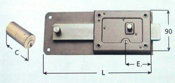 Ferroglietto Wally cilindro fisso con diametro 25 mm e solo catenaccio - Entrata 50 mm