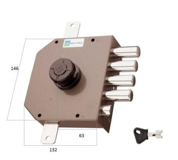 Serratura Mottura a pompa applicare triplice con scrocco cilindro antistrappo apertura interna con pomolo - Mano sinistra