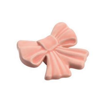 Pomello per mobile a forma di Fiocco in Ceramica colore Rosa 45 x 45mm