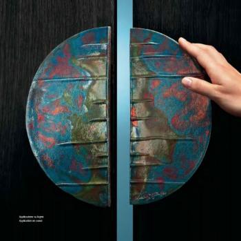 Maniglione artistico Half Moon interasse 128 mm riflessato