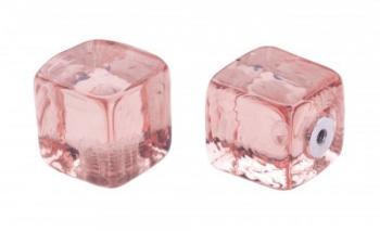 Pomolo in vetro per mobile Cubo 20mm Rosa