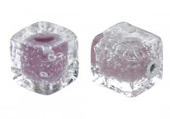 Pomolo in vetro per mobile Cubo 25mm Lavanda pulegoso