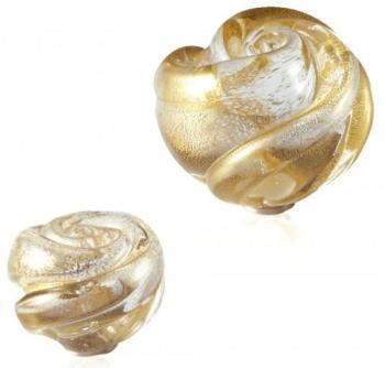 Pomolo in vetro per mobile Rosolina   50mm  Trasparente e oro