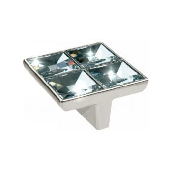Pomolo per mobili Swarovski 57x57x29 mm Nickel lucido