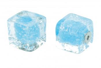 Pomolo in vetro per mobile Cubo  20mm  azzurro pulegoso