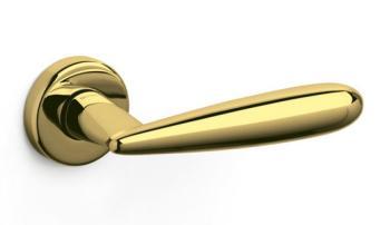 Olivari serie Futura maniglia per porta interna rosetta bocchetta foro per cilindro Ottone Lucido