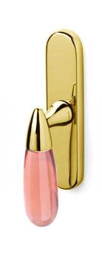 Maniglia per finestra cremonese senza movimento Olivari serie Aurora SuperOro Lucido + Vetro Trasparente Rosa