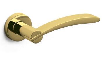Olivari serie Selene maniglia per porta interna rosetta bocchetta  foro per cilindro Ottone Superoro Lucido - Satinato