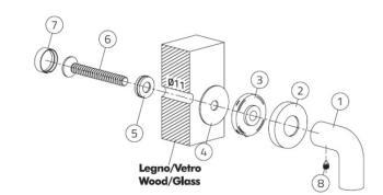 Olivari Fissaggio singolo per maniglioni su porta in legno o in vetro. Finitura BioCromo Lucido
