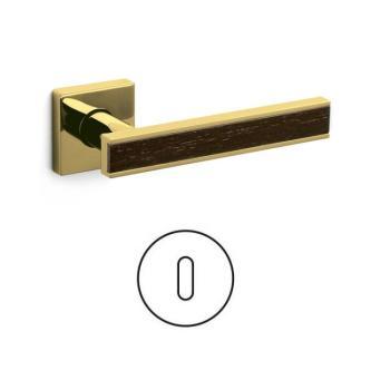 Maniglia per porta serie Edge Olivari rosetta bocchetta quadrata foro normale Ottone + Legno / SuperOro Lucido + Wengè