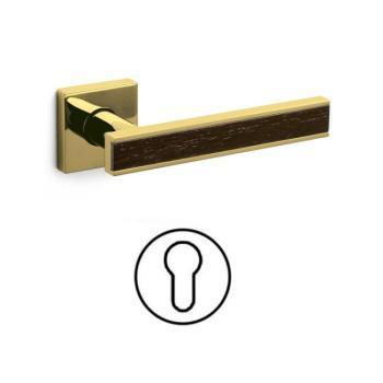 Maniglia per porta serie Edge Olivari rosetta bocchetta quadrata foro yale Ottone + Legno / SuperOro Lucido + Wengè