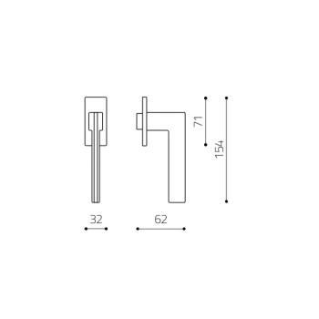 Maniglia per finestra Olivari serie Trend DK basso Ottone Cromato Opaco