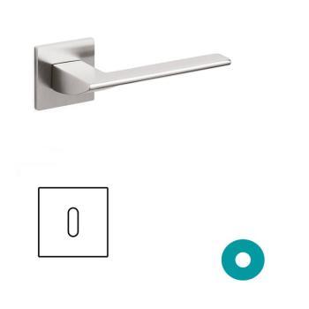 Maniglia per porta Olivari serie Trend con rosetta e bocchetta bassa quadrata foro normale Ottone SuperInox Satinato