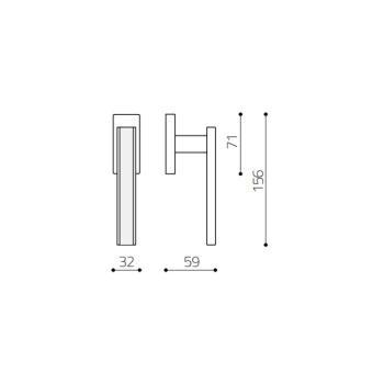 Maniglia per finestra serie Edge DK Olivari Ottone Cromato Opaco + Vetro Trasparente Opaco